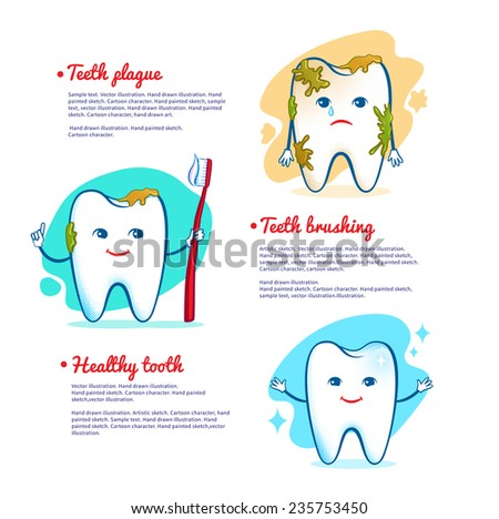 Teeth brushing concept. Vector illustration, isolated. - stock vector