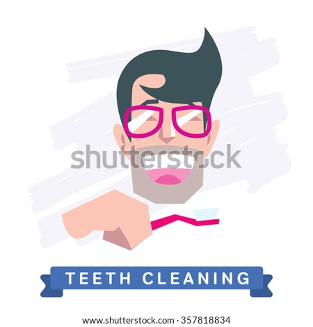 Teeth Cleaning. Morning routine, Hygiene, Clean Teeth, Toothbrush, Toothpaste. Beautiful Smile healthy teeth. Clean teeth - the guarantee of health. White Tooth, vector tooth, cartoon smile. Oral Care - stock vector