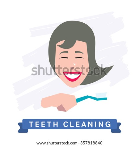 Teeth Cleaning. Morning routine, Hygiene, Clean Teeth, Toothbrush, Toothpaste. Beautiful Smile healthy teeth. Clean teeth - the guarantee of health.White Tooth, vector tooth, cartoon smile. Oral Care - stock vector