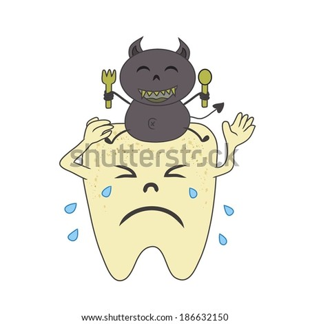 Teeth crying and destroy  by germ. - stock vector