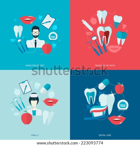 Teeth dental care health flat icons set with inspection dentist treatment isolated vector illustration - stock vector