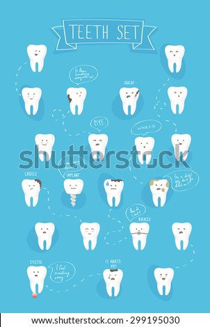 teeth emotions vector set on blue background - stock vector