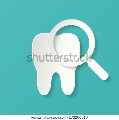 Teeth inspection with magnifying glass - stock vector