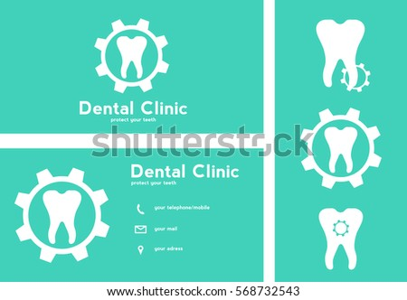 teeth logo and cards for dental clinic