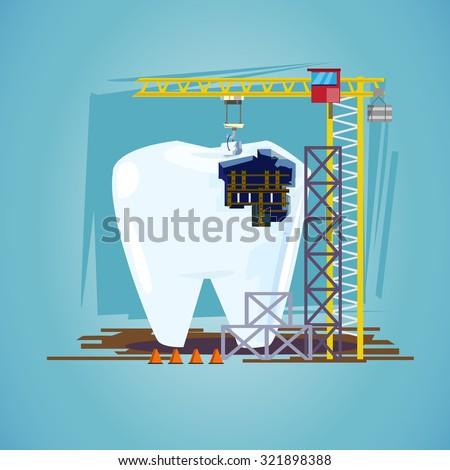 teeth with hoisting crane. treatment procedure, dental conceptual - vector illustration - stock vector