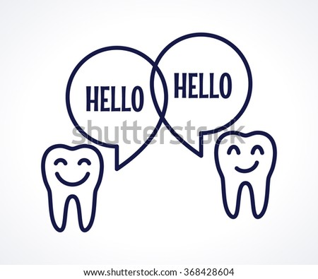 Teeth with speech bubbles. Talking teeth. Dark-blue linear tooth sign, symbol, icon, logo, concept. Place for your text - stock vector