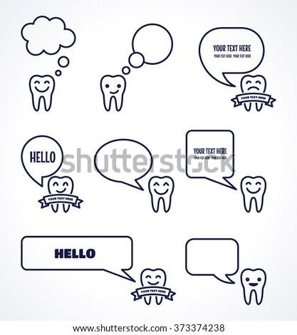 Teeth with various speech bubbles set. Talking teeth. Dark-blue linear tooth sign, symbol, icon, logo, concept. Place for your text - stock vector