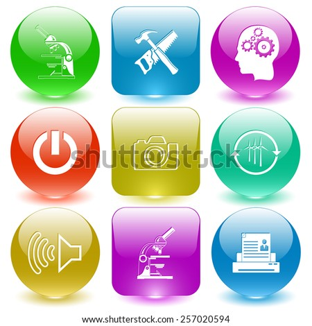 Tehnology set. Vector set glass buttons. - stock vector