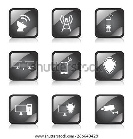 Telecom Communication Square Vector Black Button Icon Design Set