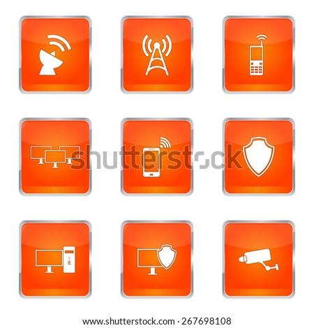 Square Vector Orange Icon Orange Telecom Icon