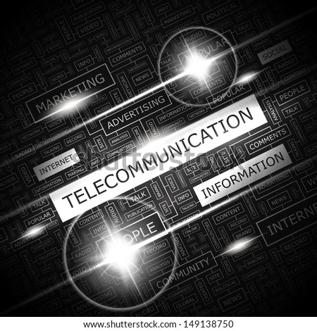 TELECOMMUNICATION. Background concept wordcloud illustration. Print concept word cloud. Graphic collage with related tags and terms. Vector illustration.