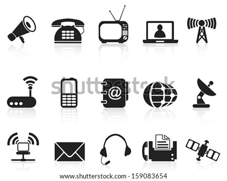 telecommunication icons - stock vector