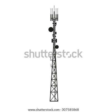 Telecommunication mast or mobile tower with satellite antenna - stock vector