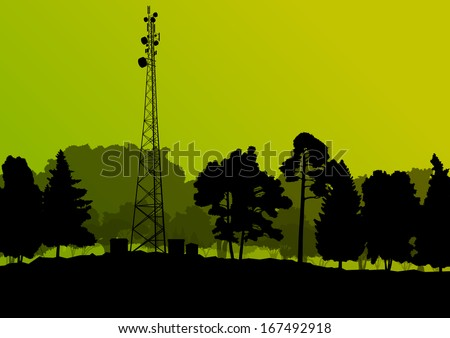 Telecommunications mobile phone base station radio tower in natural forest trees landscape concept background vector - stock vector