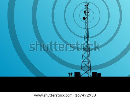 Telecommunications mobile phone base station radio tower with engineers in industrial concept background vector - stock vector