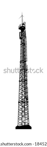 Telecommunications tower. Radio or mobile phone base station. Vector EPS10. - stock vector