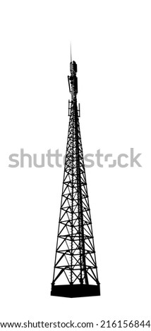 Telecommunications tower. Radio or mobile phone base station. Vector EPS10.