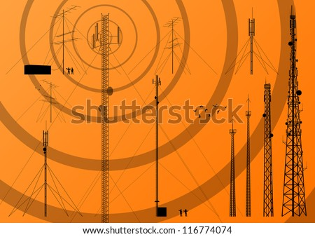 Telecommunications tower, radio, television and mobile phone base station collection vector background - stock vector