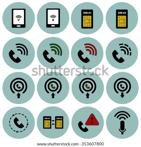 Telecommunications vector icon set