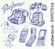 telephone doodles - stock vector