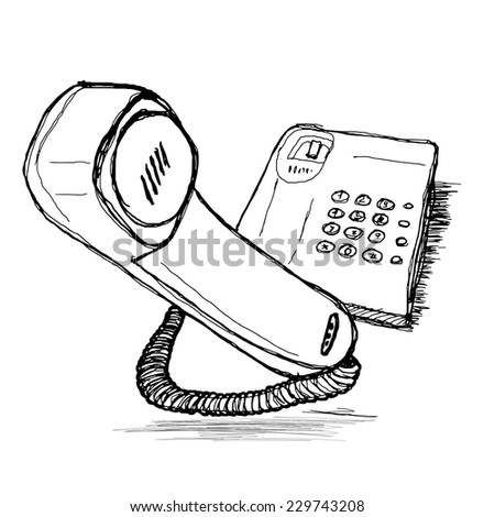 telephone  Hand drawing vector sketch - stock vector