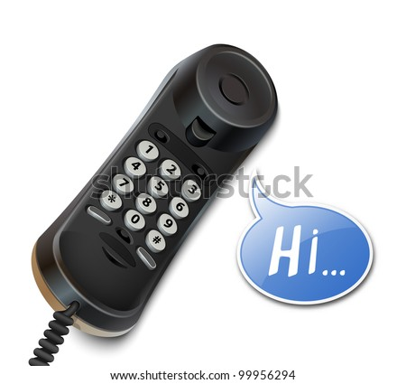 Telephone handset and speech bubble. Vector illustration - stock vector
