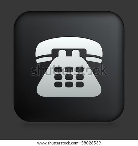 Telephone Icon on Square Black Internet Button Original Illustration - stock vector