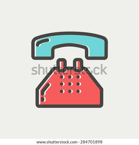 Telephone icon thin line for web and mobile, modern minimalistic flat design. Vector icon with dark grey outline and offset colour on light grey background. - stock vector