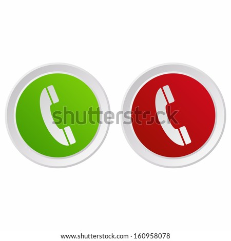 Telephone icons (GRX btn metallic, green and red version)  - stock vector