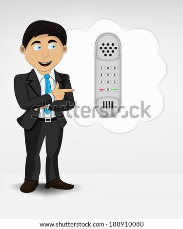 telephone in bubble idea concept of man in suit vector illustration - stock vector