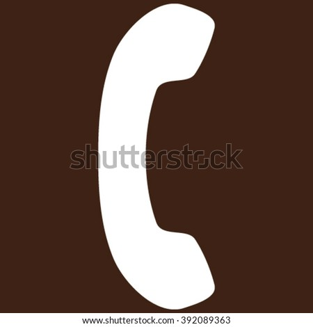 Telephone Receiver vector icon. Image style is flat phone receiver pictogram symbol drawn with white color on a brown background.
