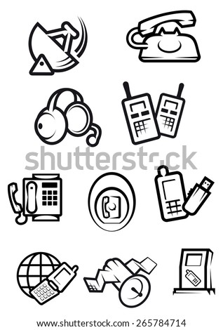 Telephone technology icons with silhouettes of smartphones, dial and mobile phones, fax, headset, radio set, satellite and radar isolated on white background - stock vector