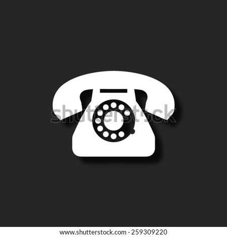 telephone   - vector icon with shadow - stock vector