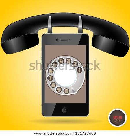 Telephone vector illustration. Retro phone and new phone in one - stock vector