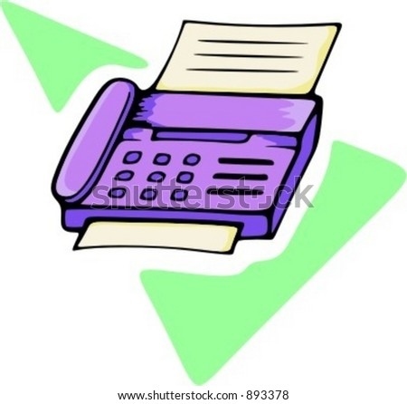 Telephone with fax.Vector illustration