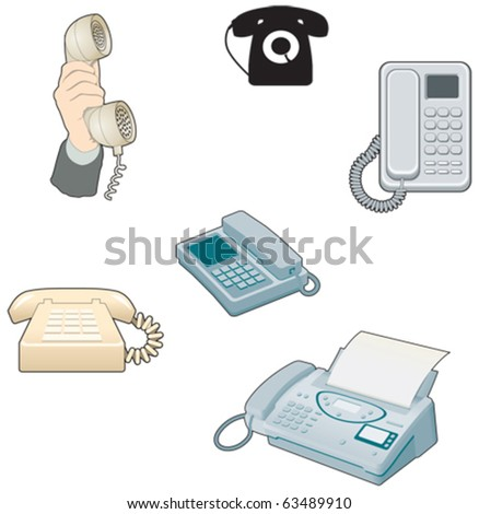 Telephones, answerphones etc, old and new - stock vector