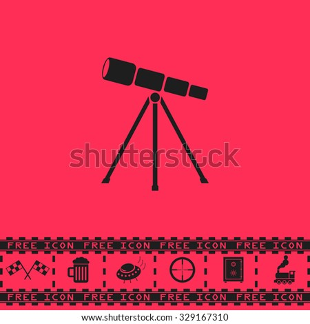 Telescope. Black flat vector icon and bonus symbol - Racing flag, Beer mug, Ufo fly, Sniper sight, Safe, Train on pink background - stock vector