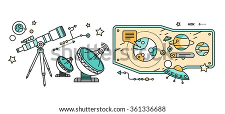 Telescope, celestial bodies constellation sun. Comet and star, astronomy space, astrology and galaxy, science and universe, travel flying, equipment and heavenly body illustration. Astronomy concept - stock vector