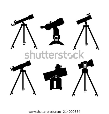 telescope icon set of black icons on white background - stock vector