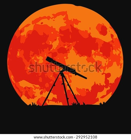 Telescope silhouette on background of the moon (vector)