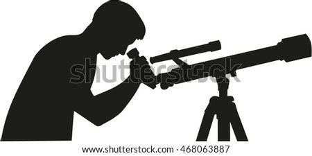 Telescope with man silhouette