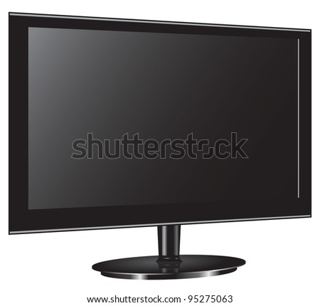 Television plasma monitor on the stand. Vector illustration.