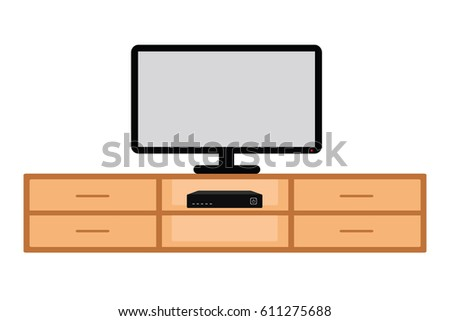 Television put on wooden table
