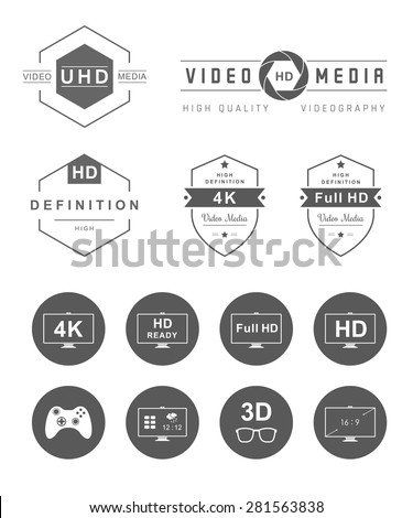 Television set symbols isolated on white background. Vector collection label, sign, logo and badges tv, smart tv, and others formats tv and definition - Stock Vector. - stock vector
