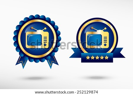 Television stylish quality guarantee badges. Blue colorful promotional labels - stock vector