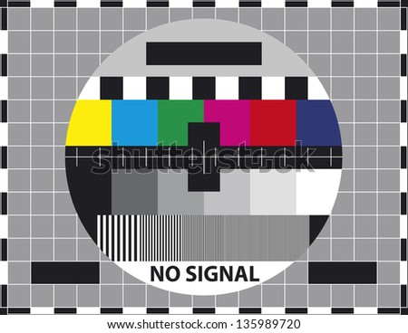 Television test screen. Used to prove the quality of reception. - stock vector