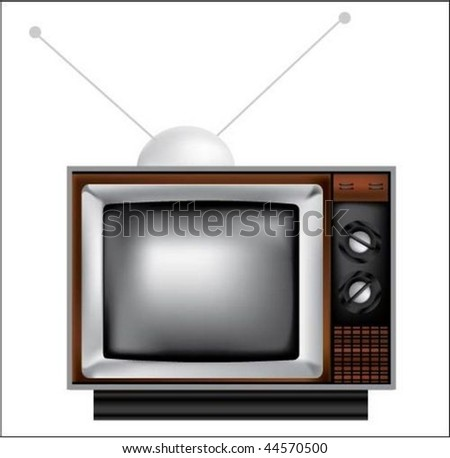 television with antenna isolated on white - stock vector