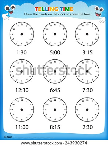 Time Worksheets time worksheets one hour later : Telling Time Worksheet Write Time Shown Stock Vector 243930298 ...