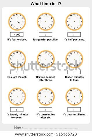 Telling Time Worksheet Write Clockwise Time Stock Vector Royalty