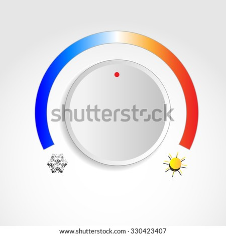 Temperature knob with sun and snowflake symbols